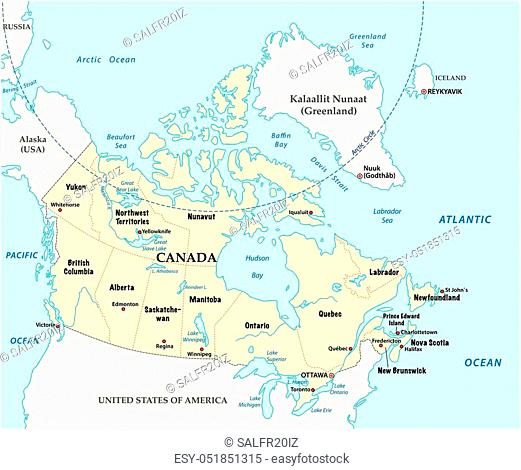 Canada vector map with provinces and boundary