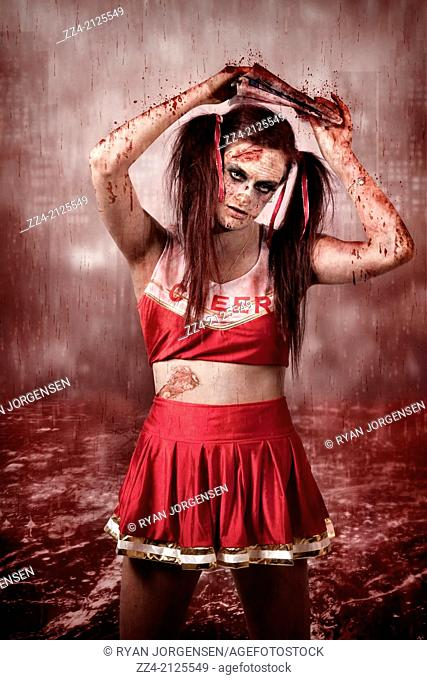 Living dead school girl padding through a blood red river during a cityscape storm under the cover of a blood soaked newspaper. Viral media bloodbath