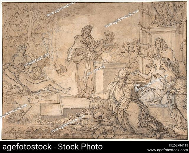 Sacrifice Offered before a Statue of Jupiter, 17th century. Creator: Louis de Boullogne