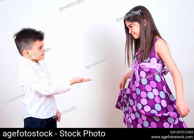 little boy proposing his girlfriend