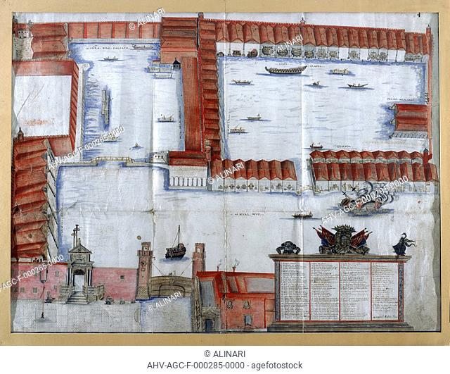 Water color drawing by Antonio di Natale of the plan of the Arsenal in Venice. The work is in the Museo Civico Correr in Venice (XVII century)