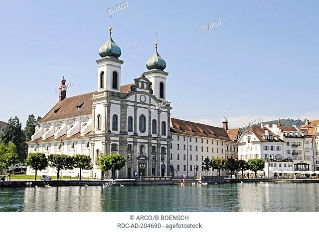 Jesuit church, river Reuss, Lucerne, Switzerland