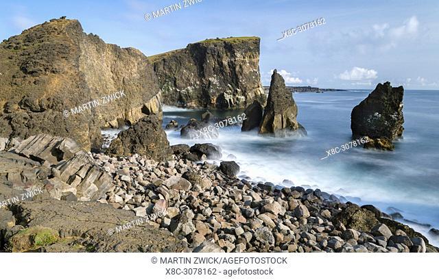 Coastal landscape at Reykjanesviti and Valahnukur on Reykjanes peninsula. europe, northern europe, iceland, august