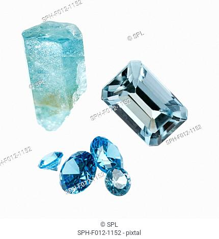 Aquamarine gemstones and crystal