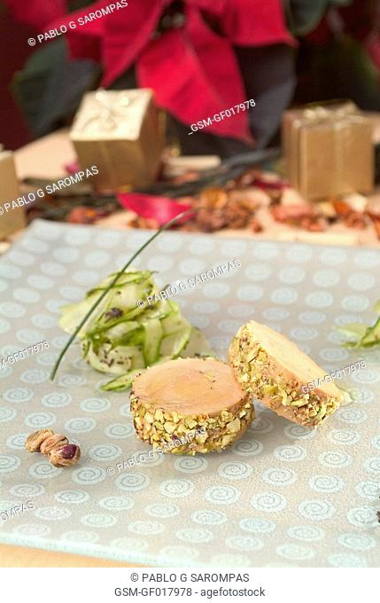 Foie terrine with dried fruits and asparagus salad with truffle