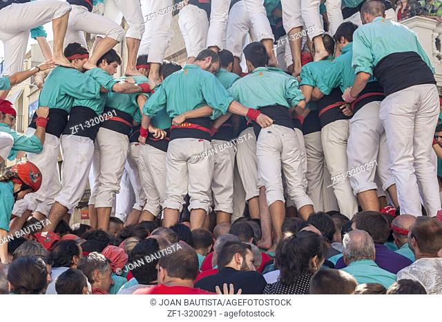 Castell, human tower built in festivals, Vilafranca del Penedes, province Barcelona, Catalonia, Spain