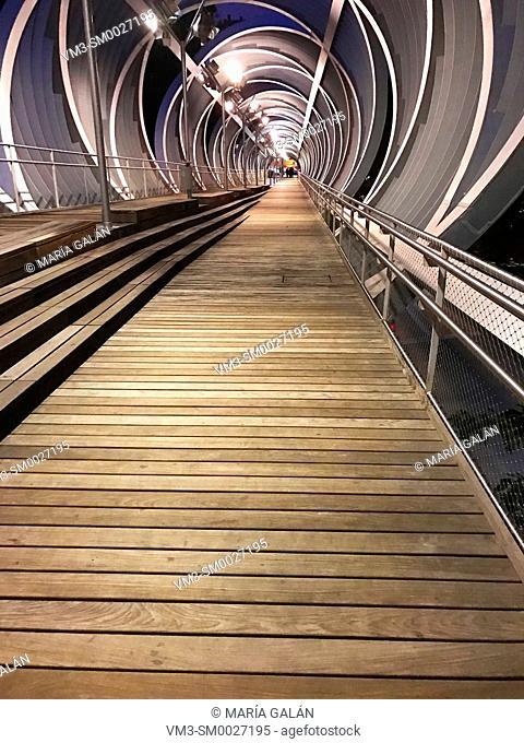 Bridge by Perrault, night view. Madrid Rio park, Madrid, Spain