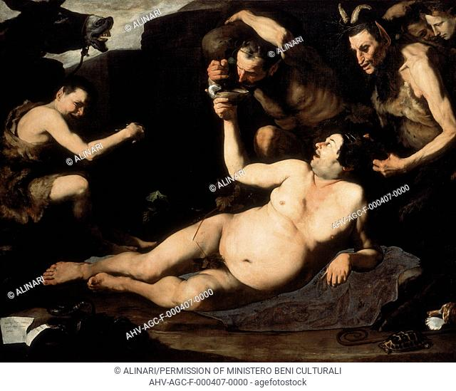 Painting by Jusepe De Ribera, called Spagnoletto, titled 'Drunken Silenus' in the Capodimonte Museum in Naples (1630), shot 1990 by Pedicini