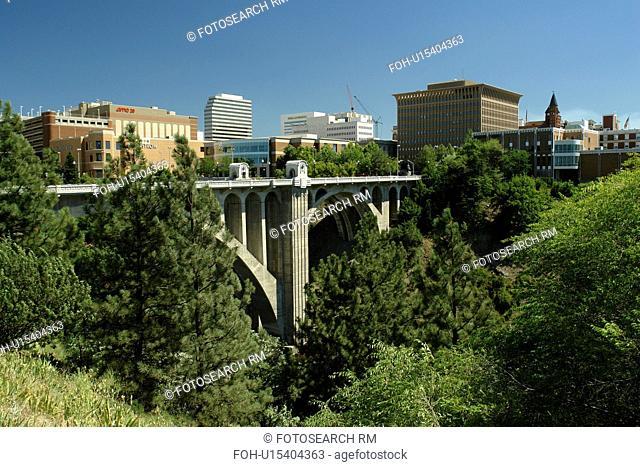 Spokane, WA, Washington, downtown, skyline, Monroe Street Bridge, Spokane River