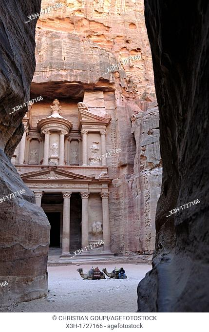 Al Khazneh, Petra's most elaborate ruin, seen from the narrow gorge Siq, Jordan, Middle East, Asia