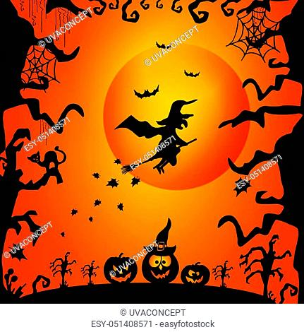 Art card for Happy Halloween. Design template for flyers, posters, ecards, invitations, brochures. Creative style. Vector illustration