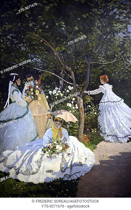 Women in the garden, 1866, oil on canvas, Claude Monet, Musee d'Orsay, Orsay Museum, Paris, France, Europe