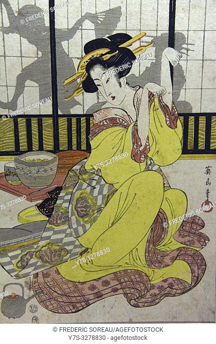 Three Fashinable Beauties drinking wine, by Kikukawa Eizan (1787-1867), Edo period, 19 th century,Tokyo National Museum,Tokyo,Honshu,Japan,Asia