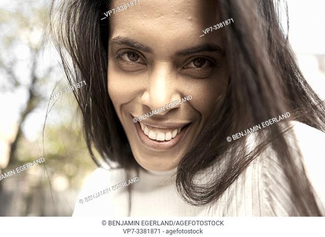 Close up portrait of a Brazilian woman, Munich, Germany