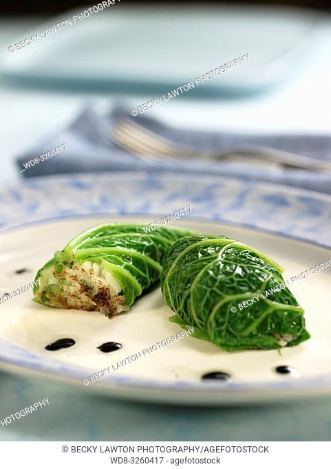 saquitos de hojas de col rellenas de verduras y calamares