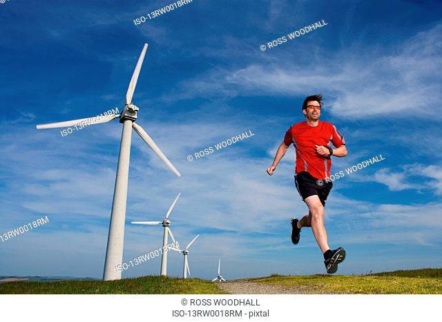 Runner at a wind farm