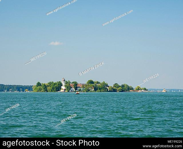 Island Fraueninsel. Lake Chiemsee in the Chiemgau. The foothills of the Bavarian Alps in Upper Bavaria, Germany