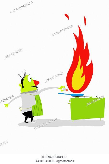 Man sprinkling salt on frying pan on fire