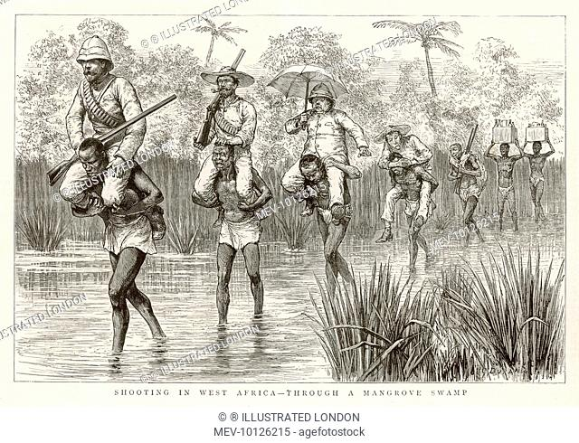 Members of a shooting party of British officers are carried across a shallow river by native carriers in central Africa, while two other porters bring the...