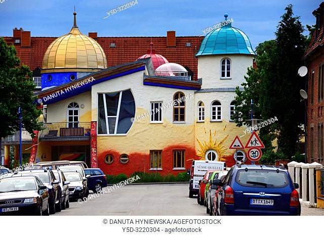 Kinderhaus Bayreuth at Munckerstrasse, interesting colorful architecture similar to Austrin architect Friedensreich Hundertwasser works by architect Karl-Heinz...