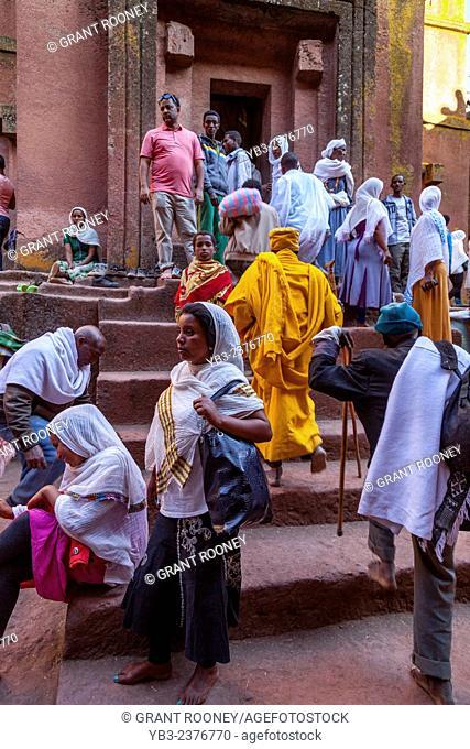 Christian Pilgrims At Beite Giyorgis (Saint Georges) Church At Christmas Time, Lalibela, Ethiopia