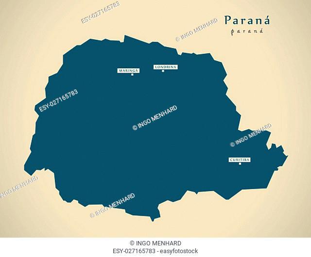 Modern Map - Parana BR Brazil Illustration