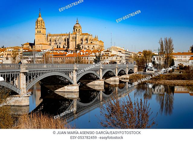 cathedral of Salamanca next to the river