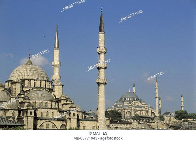 Turkey, Istanbul, view at the city,  Yeni-Moschee, Süleyman-Moschee,  Middle east, fore Orient, Near east, Ottoman empire, city, district, cityscape, houses