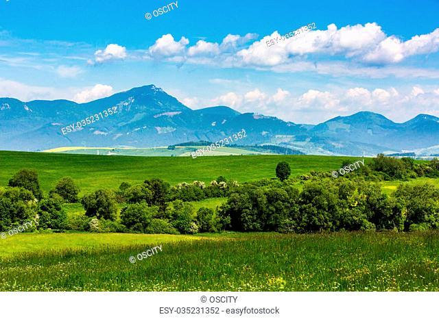 View of the mountain Choc in Liptov region between the cities Ruzomberok and Liptovsky Mikulas in Slovakia, summer 2015