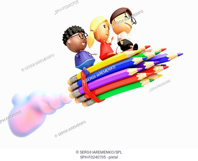 Funny school kids ride on a rocket. Isolated on white. 3D illustration