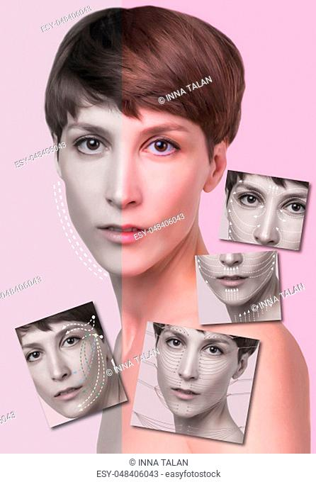 Young female with clean fresh skin. Beautiful woman. Female face and neck. Portrait of young caucasian woman at studio isolated on pastel