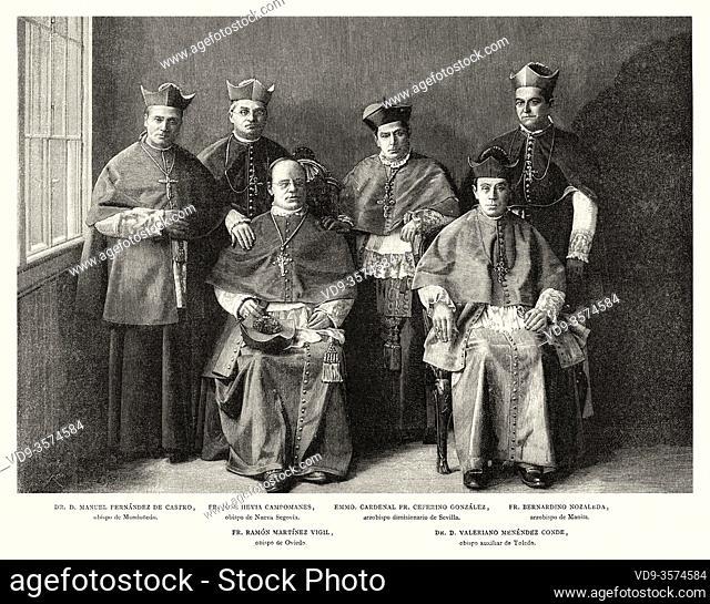 Portrait of Episcopal consecration Oviedo 1890, Manuel Fernandez de Castro, Jose Hevia Campomanes, Ceferino Gonzales, Bernardino Nozaleda, Ramon Martinez Vigil