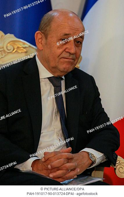 17 October 2019, Iraq, Baghdad: French Foreign Minister Jean-Yves Le Drian meets with his Iraqi counterpart Mohammed Ali al-Hakim (Not Pictured)