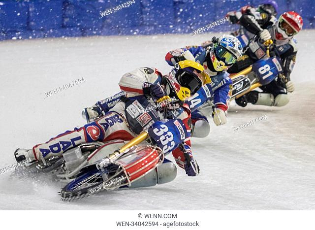 IN PHOTO: Daniil Ivanov Now that's what I call a skid! Why bother racing around tarmac and gravel roads on motorbikes when you can ride on ice? Ice speedway...