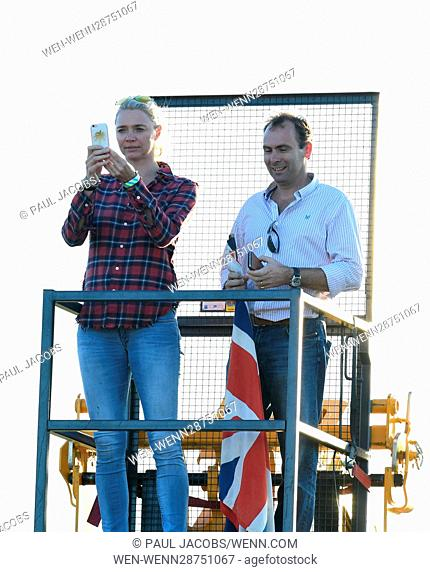 Jodie Kidd fashion model, racing car driver and television personality at the British Lawn Mower Racing Association 12 Hour lawn mower race in Five Oaks