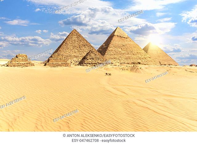 The Pyramids of Giza, view from the desert, Egypt
