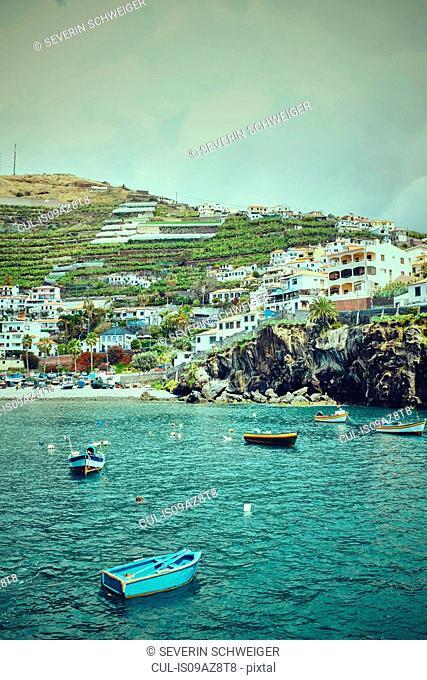 Boats in bay by hillside, Madeira, Camara de Lobos, Portugal