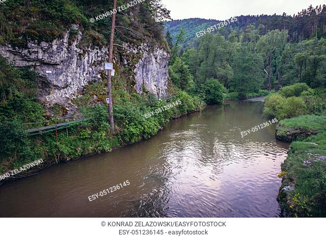 Prielom Hornadu hiking trail over Hornad River seen in Slovak Paradise National Park, north part of Slovak Ore Mountains in Slovakia