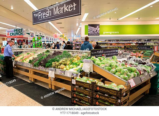 Supermarket fresh vegetable counter  UK