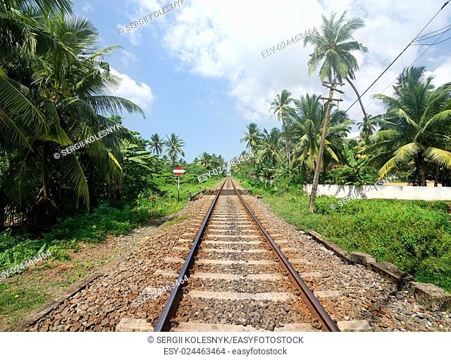 Sign near railroad in jungles of Sri Lanka