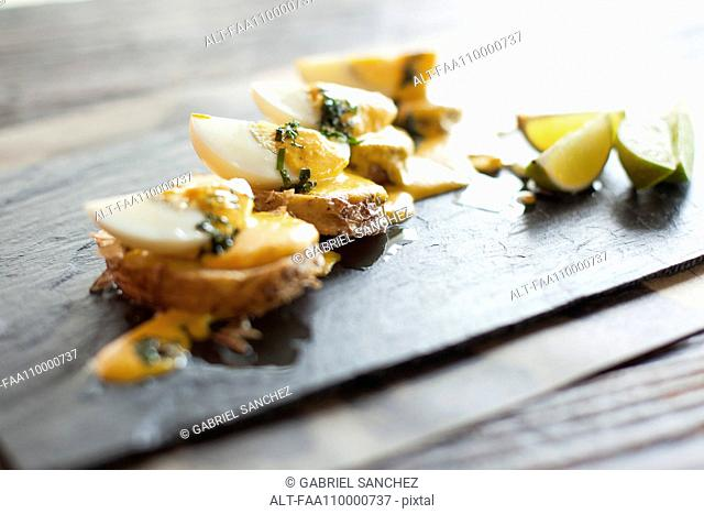 Appetizers arranged on plate