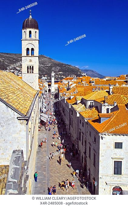 Stradun, the main street of Dubrovnik, viewed from the city walls, Dubrovnik, Croatia