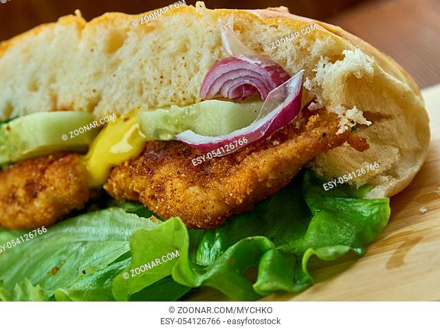 Sandwich de milanesa - milanesa sandwich, type of sandwich eaten in Argentina and Uruguay