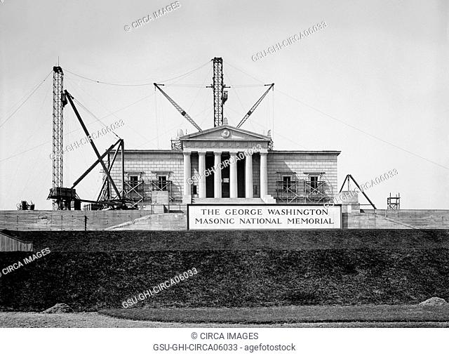 George Washington Masonic National Memorial under Construction, Alexandria, Virginia, USA, Harris & Ewing, 1925