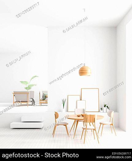 Mock up poster frames in Scandinavian style dining room interior. Minimalist dining room design. 3D illustration