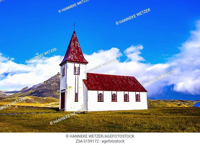 Small coastal church in Hellnar, Snaefellsnes peninsula, Iceland