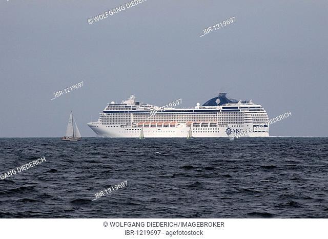 MSC Orchestra cruise ship, leaving the Kiel Fjords, Kiel, Schleswig-Holstein, North Germany, Germany, Europe
