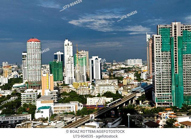 Sukhumvit BTS train and buildings around it