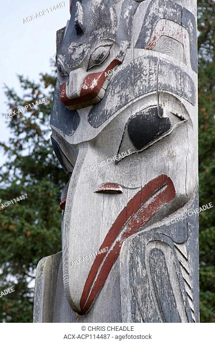 Totem pole detail, Haida Arts & Jewellery, Haida Gwaii, formerly known as Queen Charlotte Islands, British Columbia, Canada