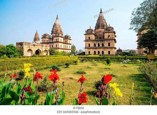 Cenotaphs at Orchha, Madhya Pradesh. Also spelled Orcha, famous travel destination in India. Moghul gardens, blue sky